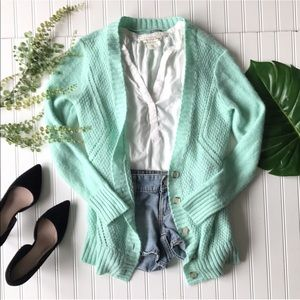 Sweaters - Mint green cardigan button up long sleeve sweater